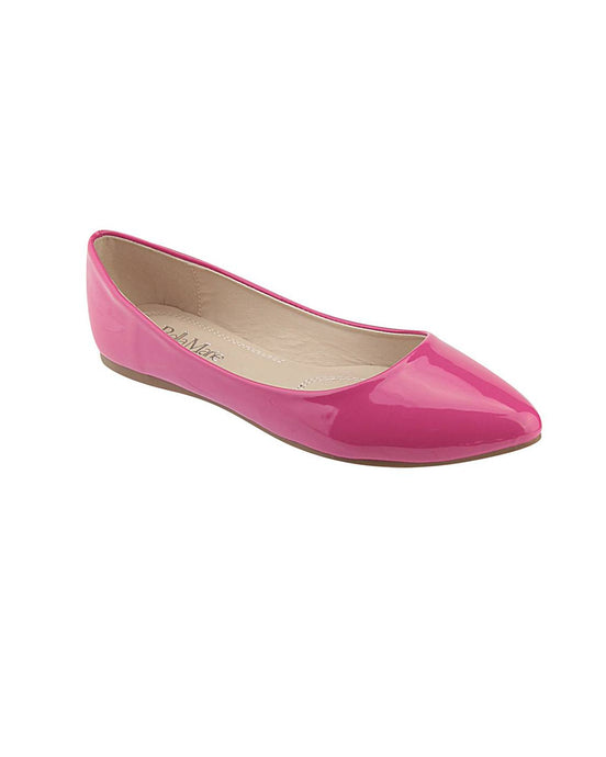 Pointed Toe Glossy Texture Flats