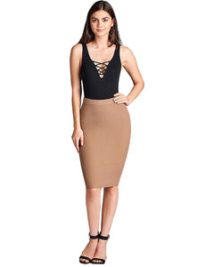 Ribbed Pencil Skirt - Khaki