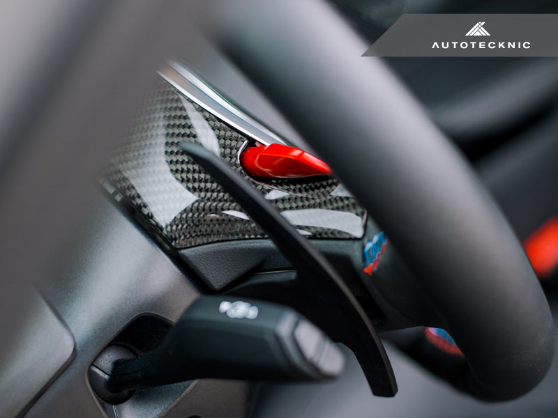 AutoTecknic Carbon Steering Wheel Top Cover - G14/ G15/ G16 8-Series - AutoTecknic USA