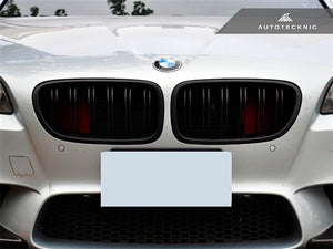 AutoTecknic Replacement Dual-Slats Stealth Black Front Grilles - F10 5-Series