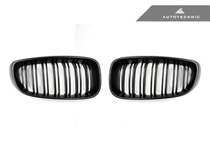 AutoTecknic Replacement Dual-Slats Stealth Black Front Grilles - F34 3-Series Gran Turismo
