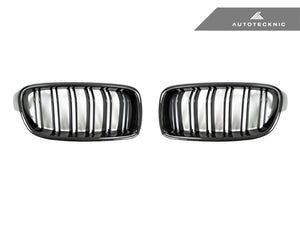 AutoTecknic Replacement Dual-Slats Carbon Front Grilles - F30 3-Series Sedan | F31 3-Series Wagon