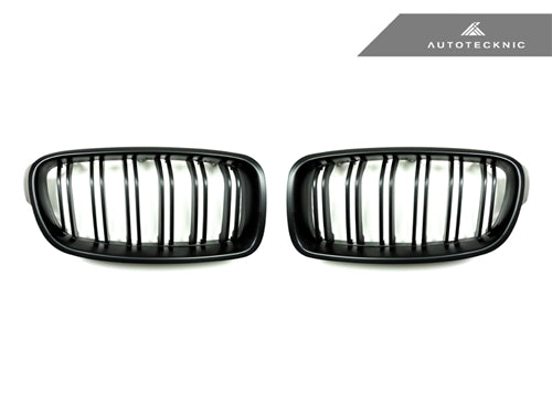 AutoTecknic Replacement Dual-Slats Stealth Black Front Grilles - F30 3-Series