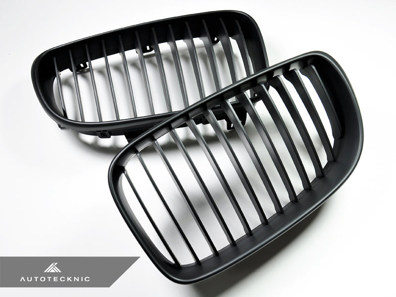 AutoTecknic Replacement Stealth Black Front Grilles - E82 1-Series & 1M - AutoTecknic USA