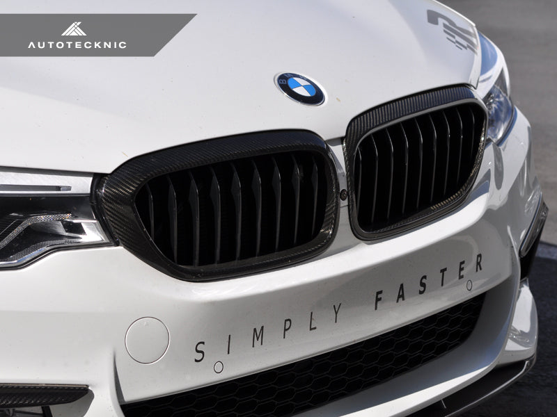 Shop AutoTecknic Dry Carbon Fiber Front Grille Covers - G30 5-Series - AutoTecknic USA