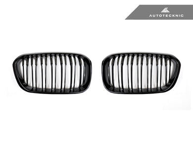 AutoTecknic Replacement Dual-Slats Glazing Black Front Grilles - F20 1-Series LCI (2015-Up)
