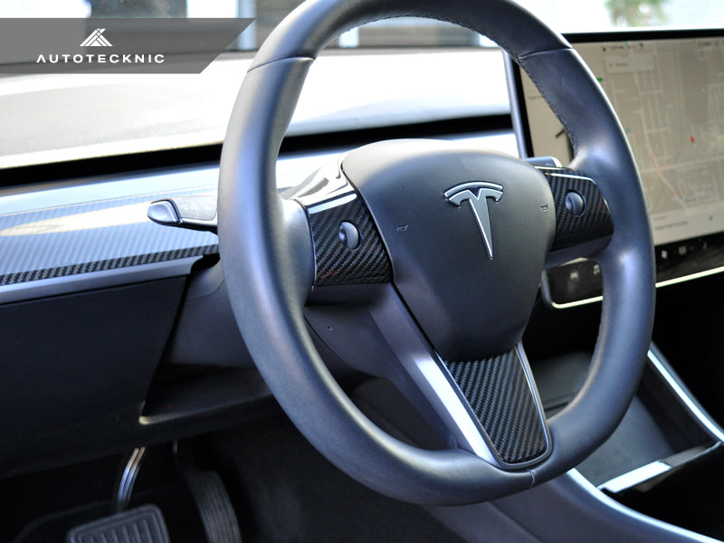Shop AutoTecknic Dry Carbon Fiber Steering Wheel & Dash Trim - Tesla Model 3 - AutoTecknic USA