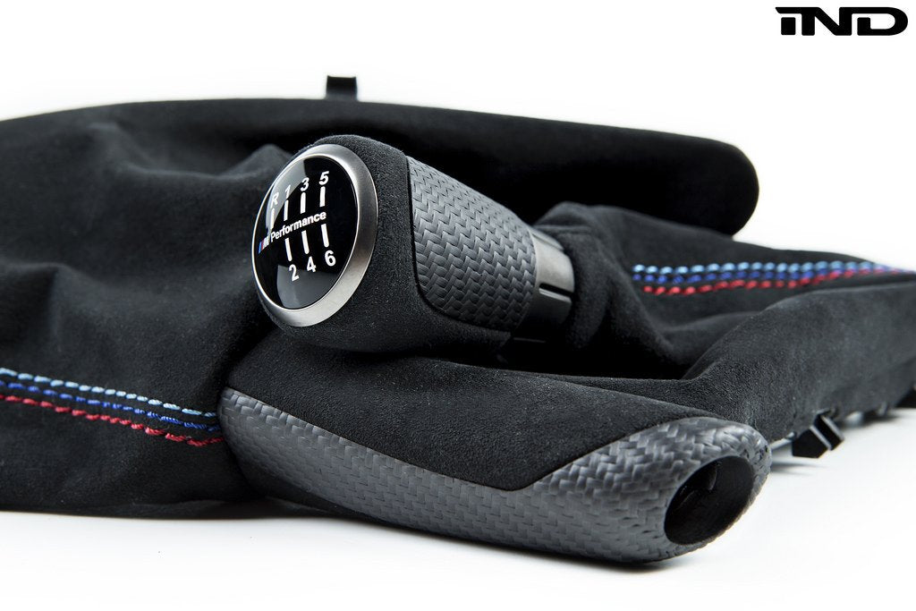 Shop IND Tri-Color Straight Stitch Alcantara Boot + Matte Carbon Shift Knob Set - F80 M3 | F82/ F83 M4 - AutoTecknic USA