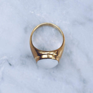 WHITE MARBLE RING | BRASS - JewelryLab