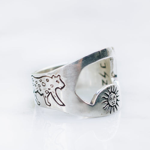SUN & JAGUAR BOTTLE OPENER RING | 925 STERLING SILVER - JewelryLab