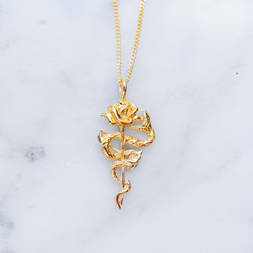 SNAKE & ROSE NECKLACE | 24K GOLD PLATED - JewelryLab