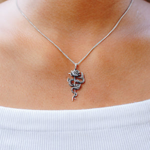 SNAKE & ROSE NECKLACE | 925 STERLING SILVER - JewelryLab