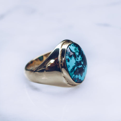 TURQUOISE CLASSIC INDO RING | BRASS