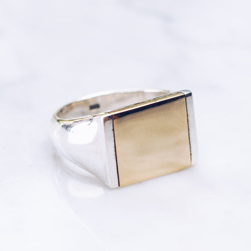 MIXED METAL FLAT TOP RING | 925 STERLING SILVER & BRASS