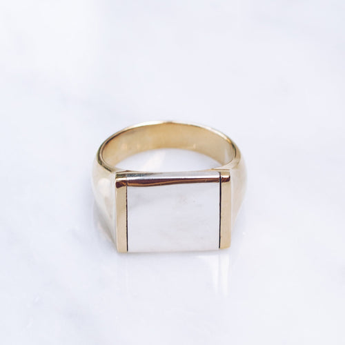 MIXED METALS FLAT TOP RING | BRASS