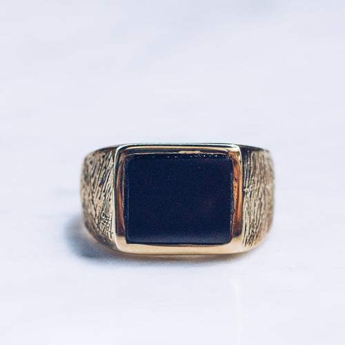 BLACK ONYX STONE RING | BRASS