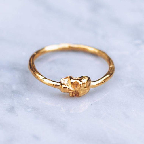 MINI JIVE SKULLS RING | 24K GOLD PLATED - JewelryLab