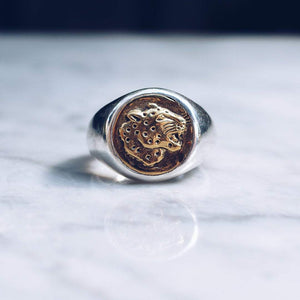 JAGUAR RING | 925 STERLING SILVER W/BRASS EMBLEM - JewelryLab