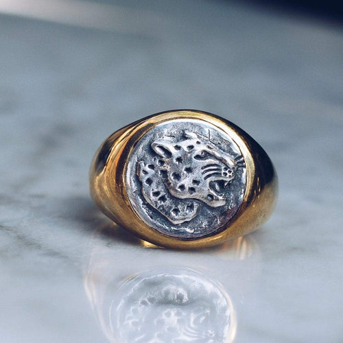 JAGUAR RING | BRASS W/925 STERLING SILVER EMBLEM - JewelryLab