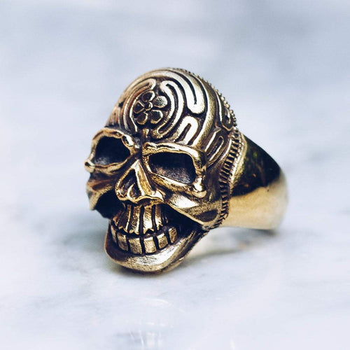 KNOWLEDGE SEEKER SKULL RING | BRASS - JewelryLab
