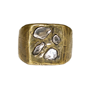LARGE ABSTRACT RING | BRASS W/ 925 STERLING SILVER EMBEDDED