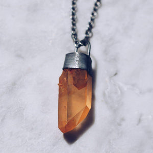 TANGERINE CRYSTAL PENDANT NECKLACE | BLACK INK 925 STERLING SILVER - JewelryLab