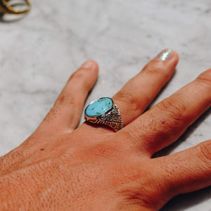 CHRYSOCOLLA CLASSIC INDO RING SNAKE DESIGN | 925 STERLING SILVER - JewelryLab