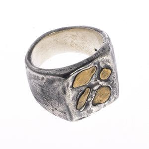 LARGE ABSTRACT RING | 925 STERLING SILVER W/ BRASS EMBEDDED