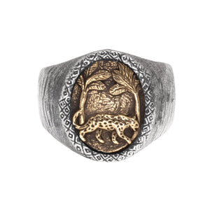 HUTAN RING | 925 STERLING SILVER W/BRASS EMBLEM - JewelryLab