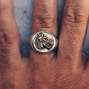 WOLF RING | 925 STERLING SILVER W/BRASS EMBLEM - JewelryLab
