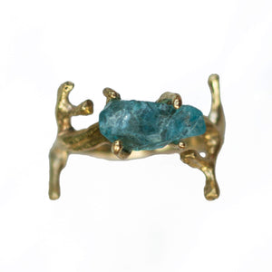 RAW BLUE APATITE RING | BRASS - JewelryLab