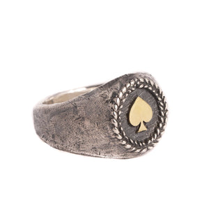 MEDIUM ACE OF SPADES RING | 925 STERLING SILVER W/BRASS EMBLEM - JewelryLab