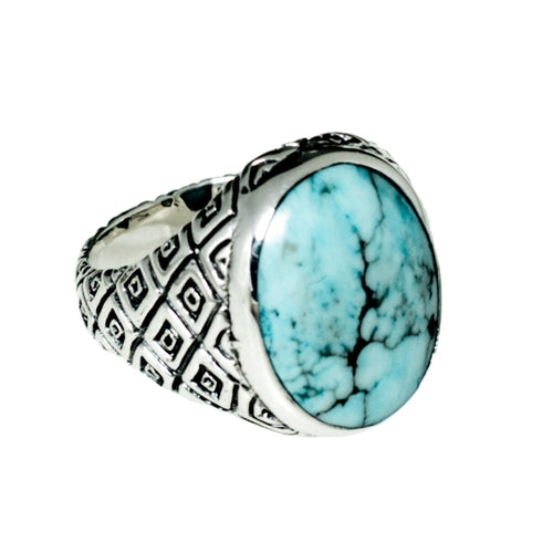 TURQUOISE CLASSIC INDO RING SNAKE DESIGN | 925 STERLING SILVER - JewelryLab