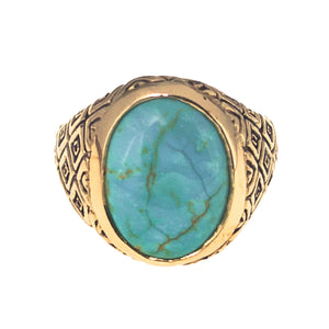 TURQUOISE CLASSIC INDO RING SNAKE DESIGN | BRASS - JewelryLab