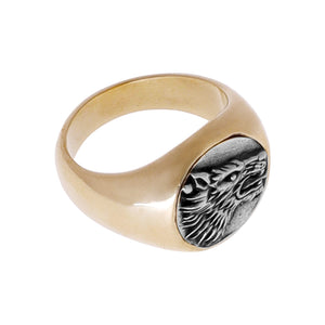 WOLF RING | BRASS W/925 STERLING SILVER EMBLEM - JewelryLab