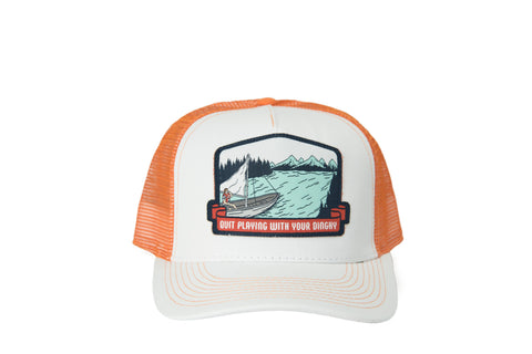 Quit Playing With Your Dinghy Hat White/Orange