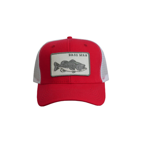 Bass Man Patch Hat Red