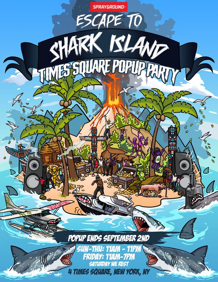 ESCAPE TO SHARK ISLAND WITH SPRAYGROUND POP-UP