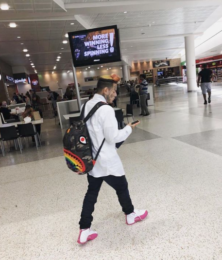 6ix9ine Spotted With Our Rainbow Shark Backpack