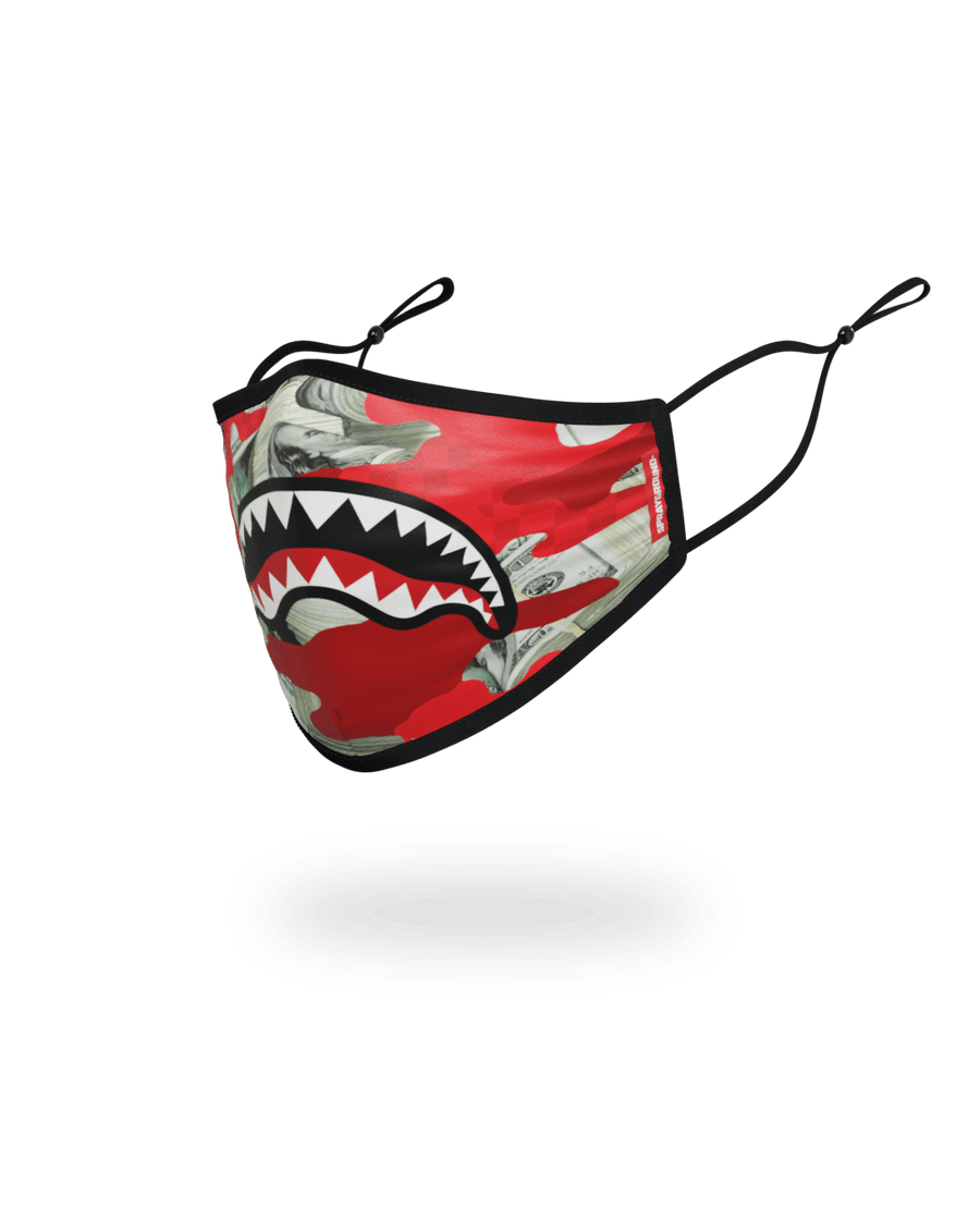 ADULT MONEY CAMO (RED) FORM-FITTING FACE MASK