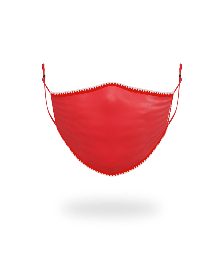 ADULT VERTICAL SHARK (RED) FORM-FITTING FACE MASK