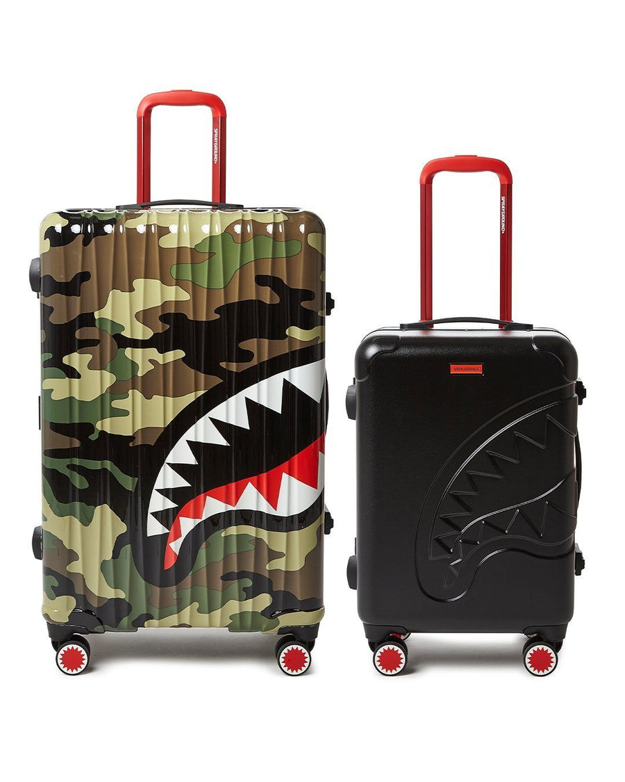 SPRAYGROUND- FULL-SIZE CAMO CARRY-ON BLACK LUGGAGE BUNDLE LUGGAGE
