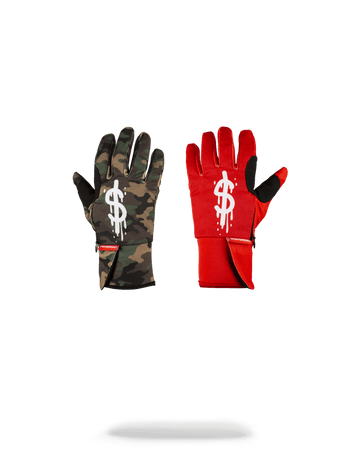 SPRAYGROUND- LEFT RED / RIGHT CAMO MONEY DRIPS GLOVES GLOVES