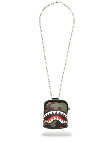 SPRAYGROUND- SHARKS IN PARIS (CAMO EDITION) BACKPACK CHAIN NECKLACE
