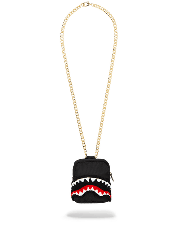 SPRAYGROUND- BLACK CHENILLE SHARK BACKPACK CHAIN NECKLACE