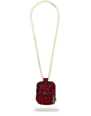 SPRAYGROUND- FUR RED LEOPARD BACKPACK CHAIN NECKLACE
