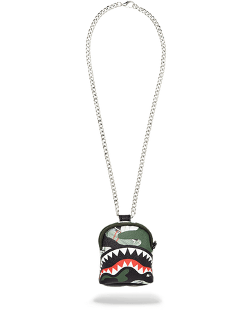 SPRAYGROUND- CAMO MONEY SHARK BACKPACK CHAIN NECKLACE