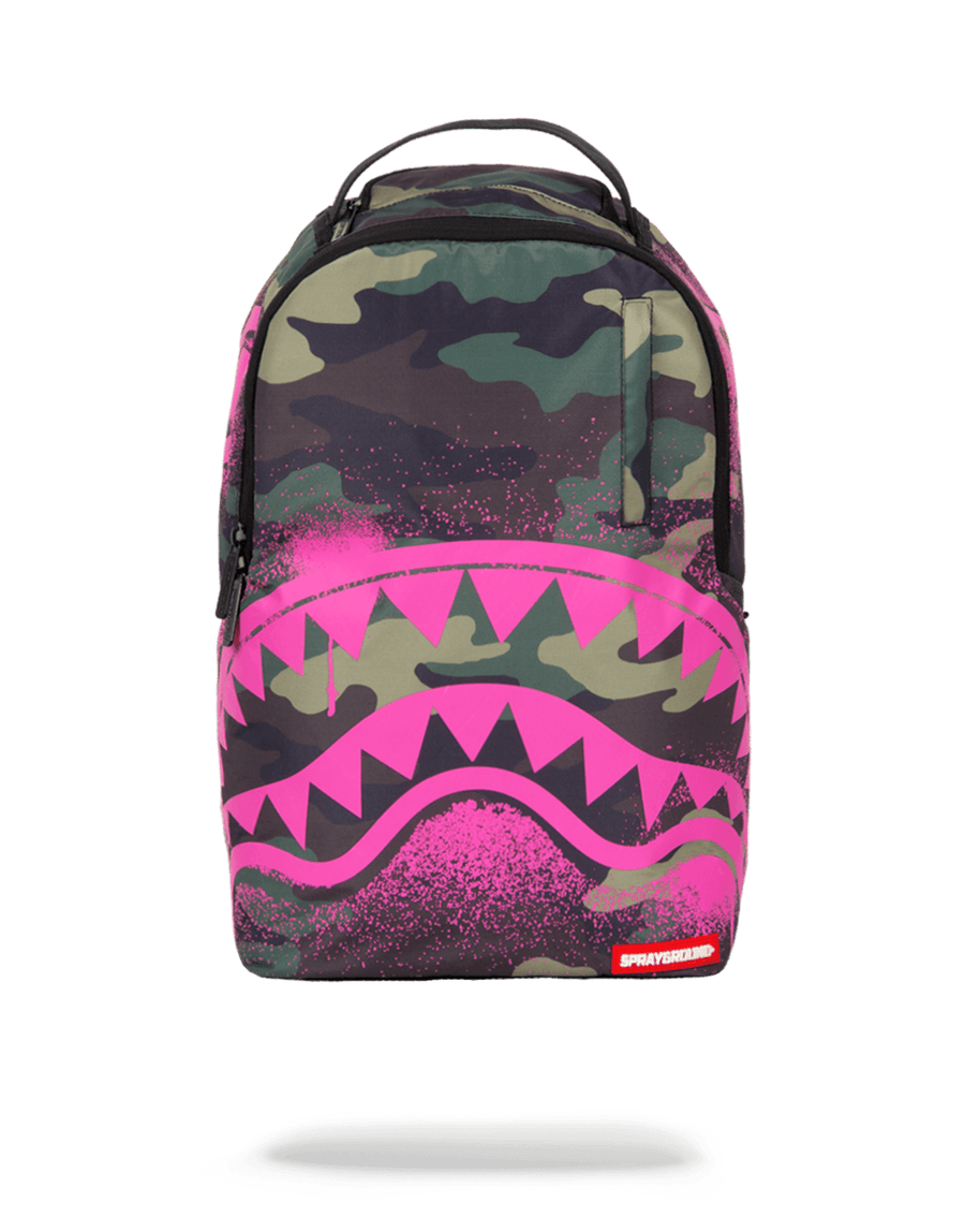 SPRAYGROUND- PINK STENCIL SHARK CAMO BACKPACK