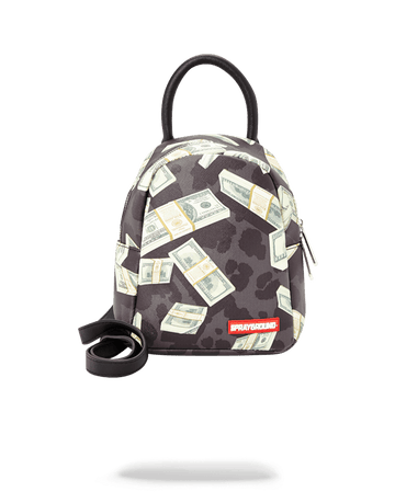 SPRAYGROUND- MONEY ON BLACK LEOPARD PRINT MINI MINI