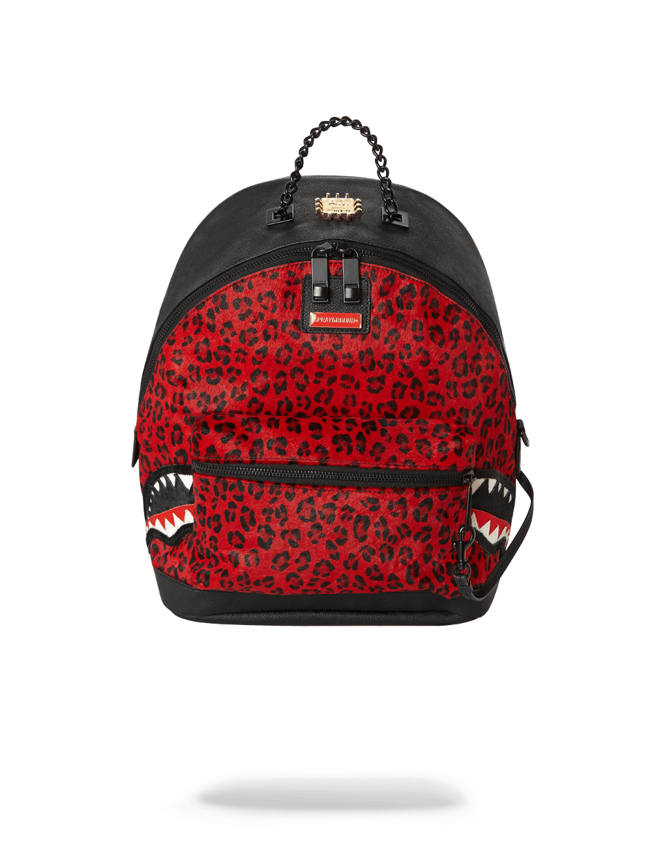 6-STRAP RED LEOPARD EMPRESS (PONY HAIR)